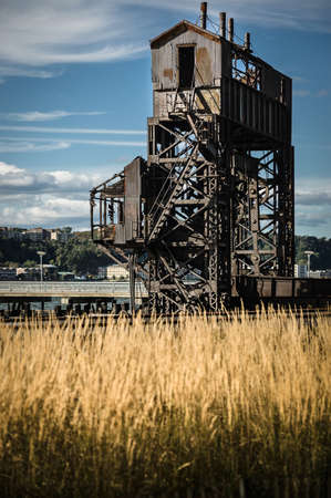 Rusty old shipping terminal with a blue sky Stock Photo - 16131779