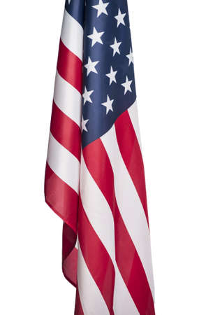 American flag shot by itself on white.