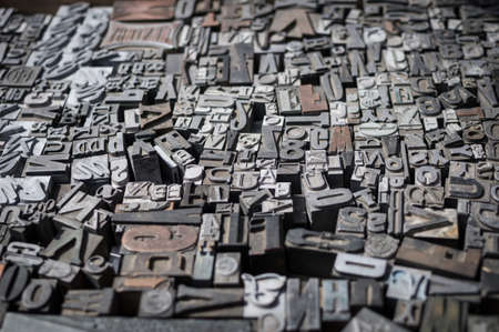 Old die press letters and numbers Stock Photo - 16131973