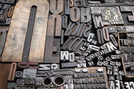 Old die press letters and numbers Stock Photo - 16131581