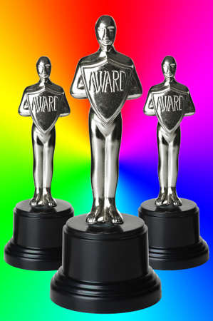 silver trophys on rainbow background with path.