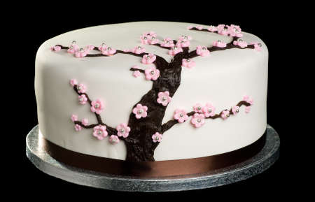 Close up of cake with cherry blossom on isolated black background Stock Photo
