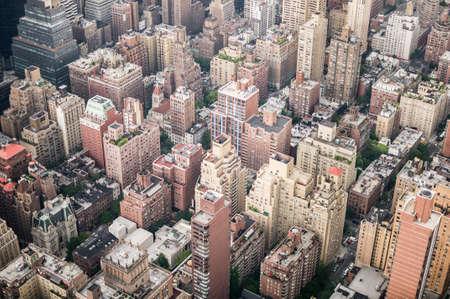 Aeriel shot of New York City buildings in Manhatten. Stock Photo