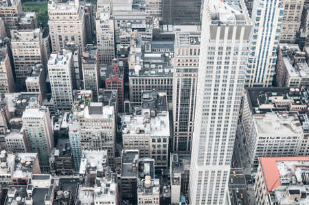 Aeriel shot of New York City buildings in Manhatten. Stock Photo