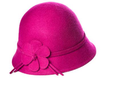 Pink felt hat on isolated white background. Stock Photo