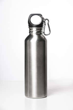 Stainless steel bottle on white background with clip. Stock Photo