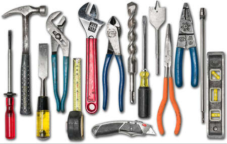 Group of construction tools on white isolated