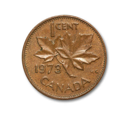 One cent Canadian copper coin with path on white
