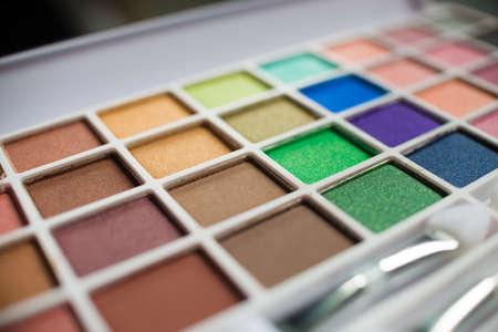Macro shot of colorful white make-up kit