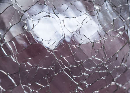 Macro shot of clear cracked glass