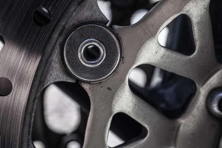 Macro shot of metal motorcycle brake Stock Photo