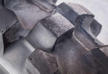 Macro shot of black rubber tire Stock Photo