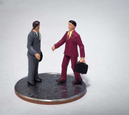 buisness: Two small buisness men making a deal