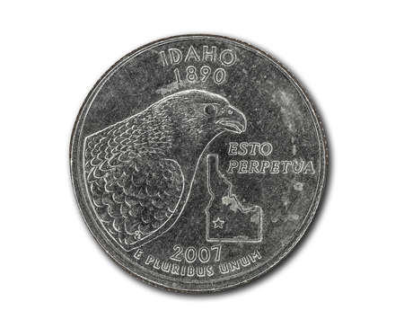 United States Idaho quarter dollar coin on white with path outline
