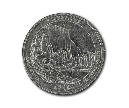 United States Yosemite quarter dollar coin on white with path outline
