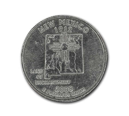 United States New Mexico quarter dollar coin on white with path outline