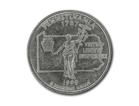 United States Pennsylvania quarter dollar coin on white with path outline