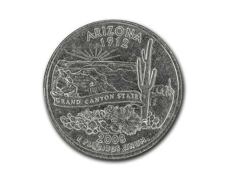 United States Arizona quarter dollar coin on white with path outline
