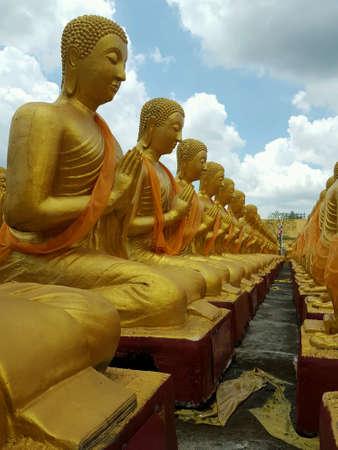 budda: Golden Buddha at Buddha Memorial park , Nakornnayok, Thailand