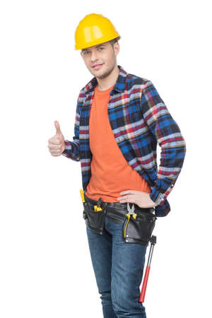 Handyman. Confident young handymen in hardhat holding thumb up while standing isolated on white Stock Photo - 22016737