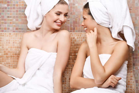 sauna: Two attractive girl friends in Turkish sauna