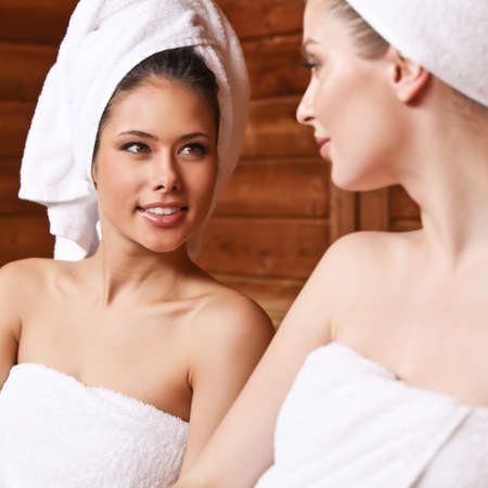 Two girls in sauna. photo