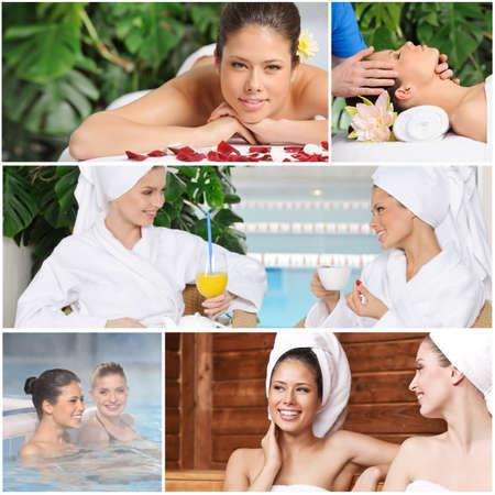 collage spa: Amigos de muchacha que se divierten en el spa