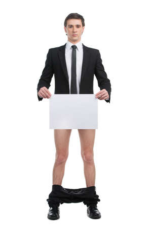 fiasco: Man standing without pants and holding blank paper