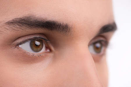 eyes hazel: Macro shot of a man eyes. Isolated on white  Stock Photo