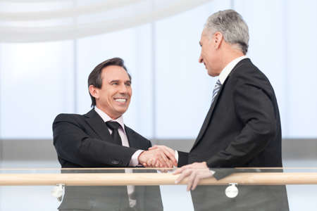 gratitude: Portrait of handsome business man shaking hands with executive at business center