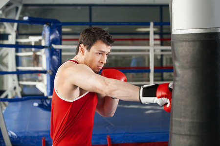 combative: Boxer. Young boxer in boxing gloves training at the punching bag Stock Photo