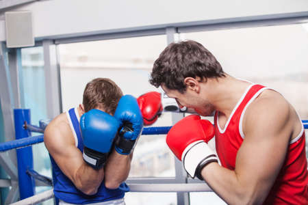 Two men boxing. Two boxers fighting on the boxing ring photo