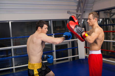 Training. Two confident men boxing on the ring photo