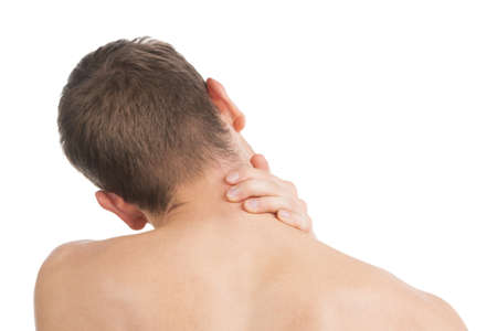 Pain Neck. The back of Man. Isolated on white photo