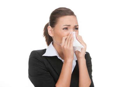 mujer llorando: Hombre de negocios deprimido. Retrato de joven empresario llorando y cubriendo la boca por un pañuelo mientras aislados en blanco