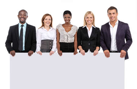 african business people: Business team holding board looking at camera Stock Photo