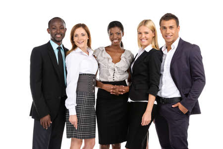 black woman white man: Group of people in suits looking at camera on white background Stock Photo