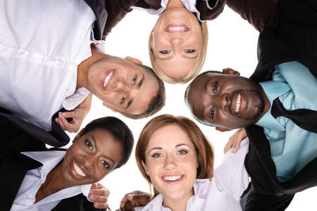 five people: A group of people in a circle on white background. view from the bottom Stock Photo