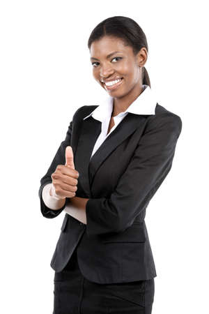 Portrait of a cheerful African American businesswoman giving a thumbs up. Isolated on white photo