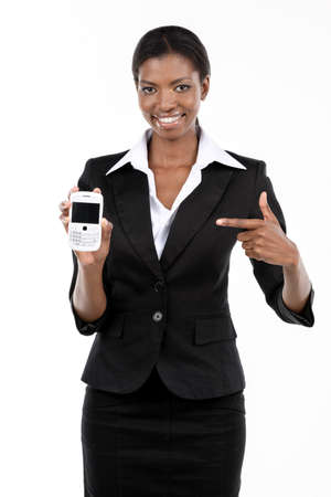 Portrait of a beautiful african american businesswoman with mobile phone, isolated on white photo