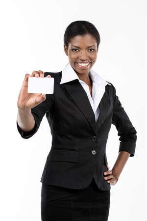 visitekaartje: Afro-Amerikaanse vrouw blijkt visitekaartje Stockfoto