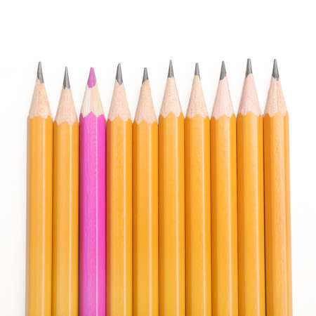symbolize: Pencils in a row, with one inverted, to symbolize individuality