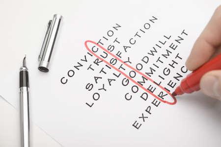 employment issues: Customer crossword Stock Photo