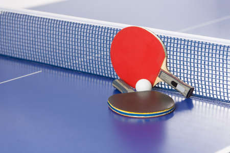 table tennis: Table tennis rackets. Top view of table tennis rackets and ball lying on the tennis table