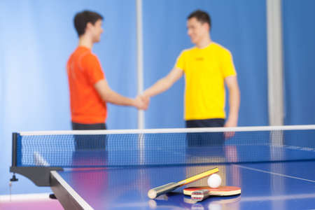 Good game! Two young men in sports clothing handshaking near the tennis table photo