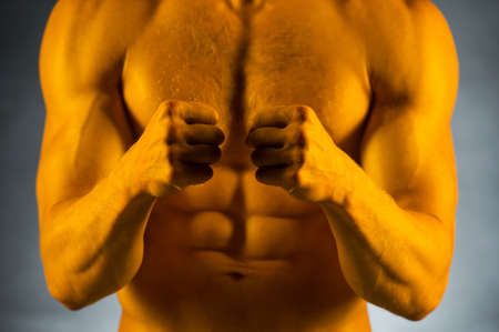 Close up of fit muscular male body. Standing isolated over grey  photo