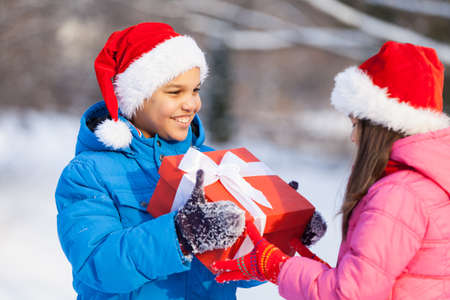 small boy giving present to girl. brother and sister having celebration outside photo