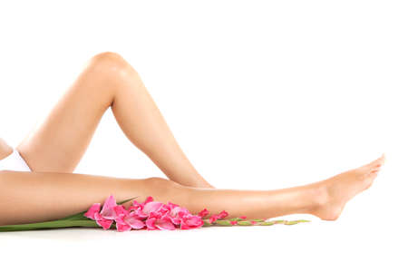 Healthy female legs on white background. Long woman legs and orchids isolated on white background