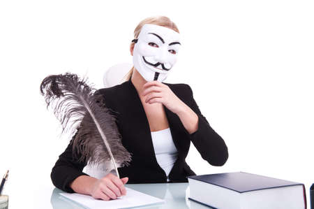 Young businesswoman working on white background and wearing mask. beautiful young woman writing at table using feather photo
