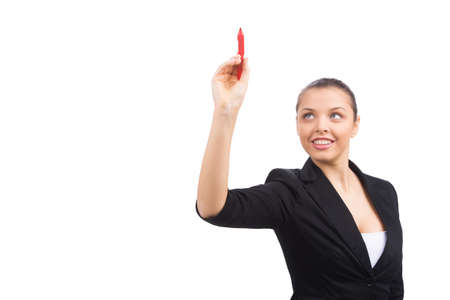 glassboard: Happy smiling cheerful young business woman. Business woman writing something with red marker Stock Photo